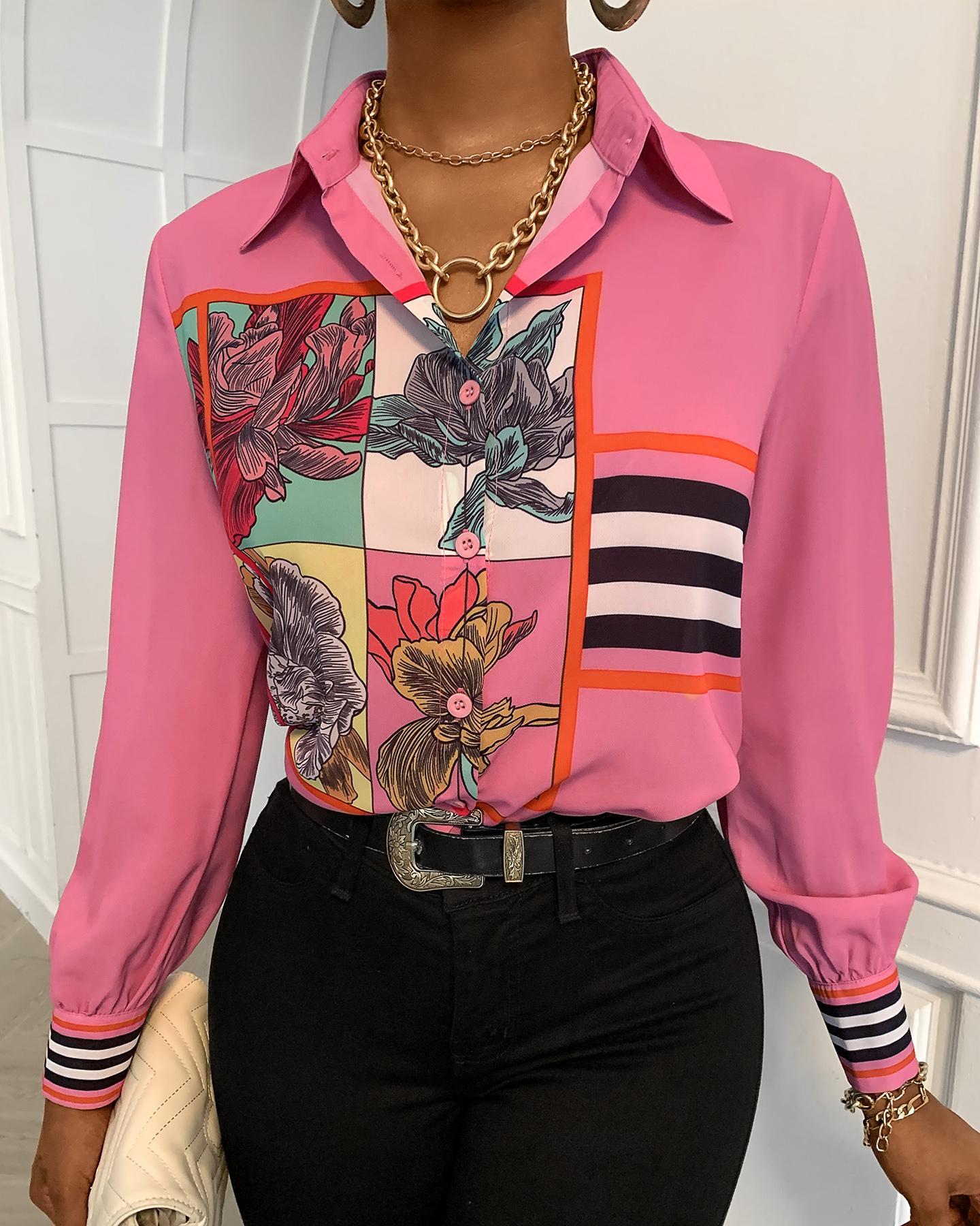 Floral Print Button Design Long Sleeve Shirt thumbnail