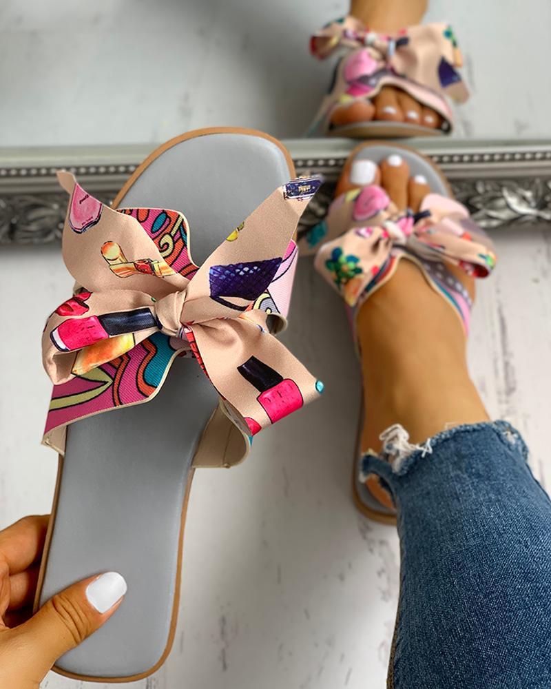 Floral Print Bowknot Design Casual Sandals