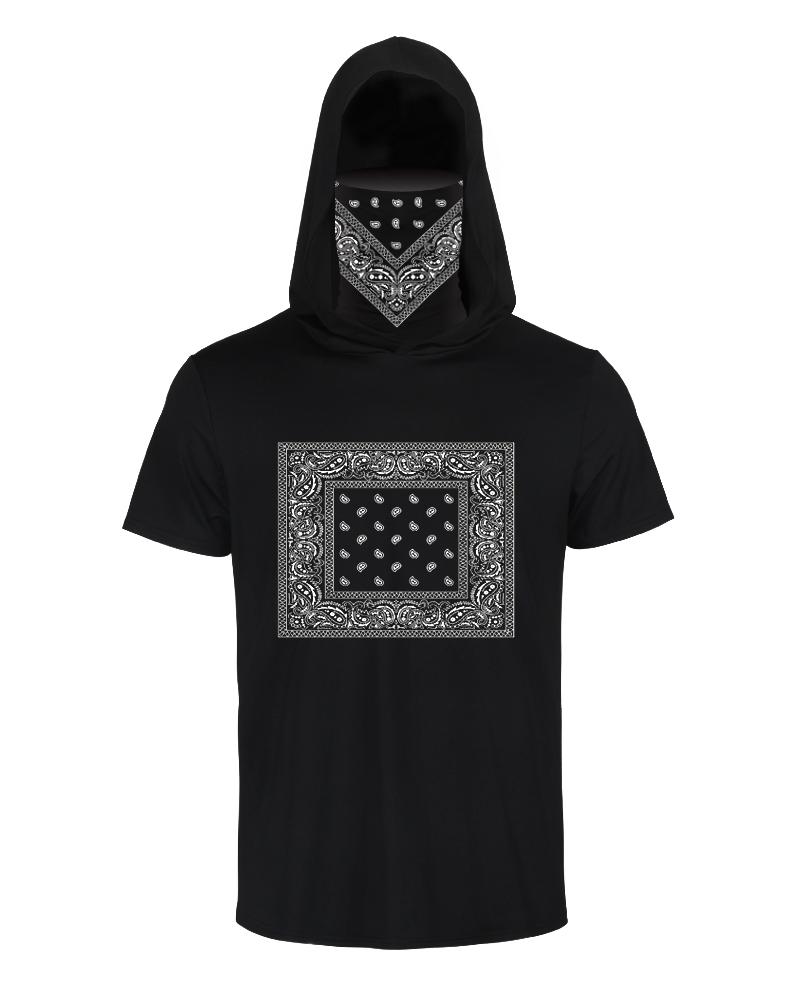 Print Hooded Casual T-shirt With Ear Loop Face Bandana thumbnail