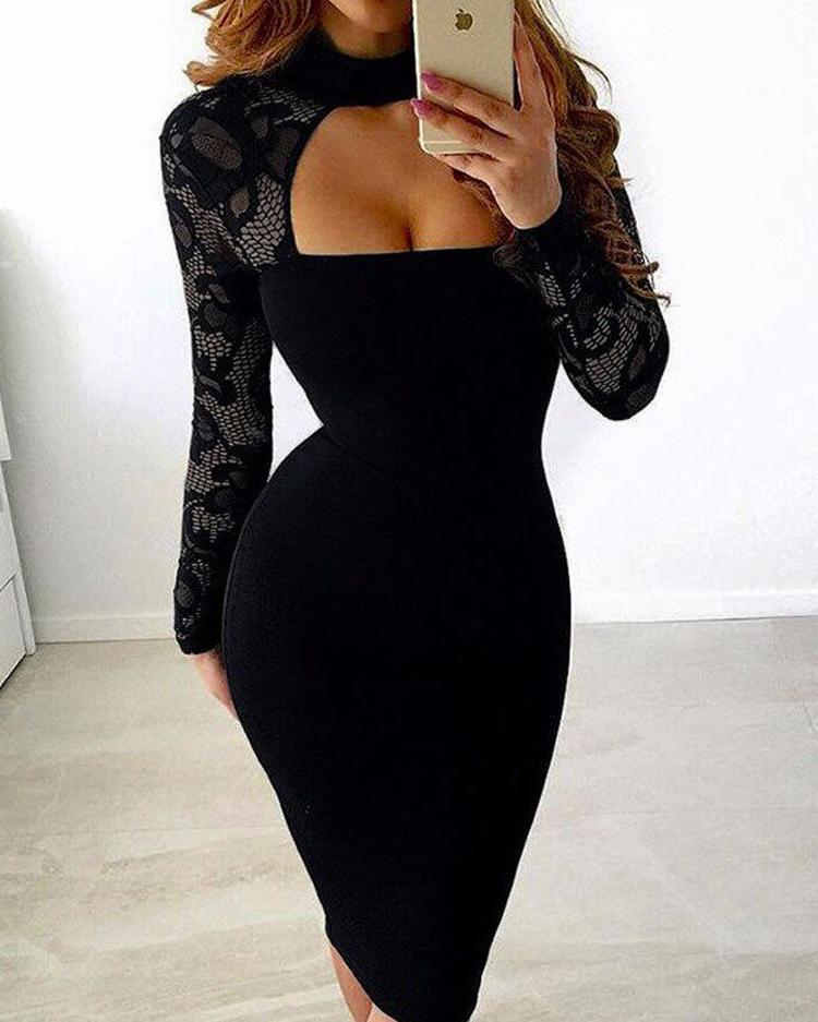 Ivrose coupon: Sexy See Through Cut Out Bodycon Dress