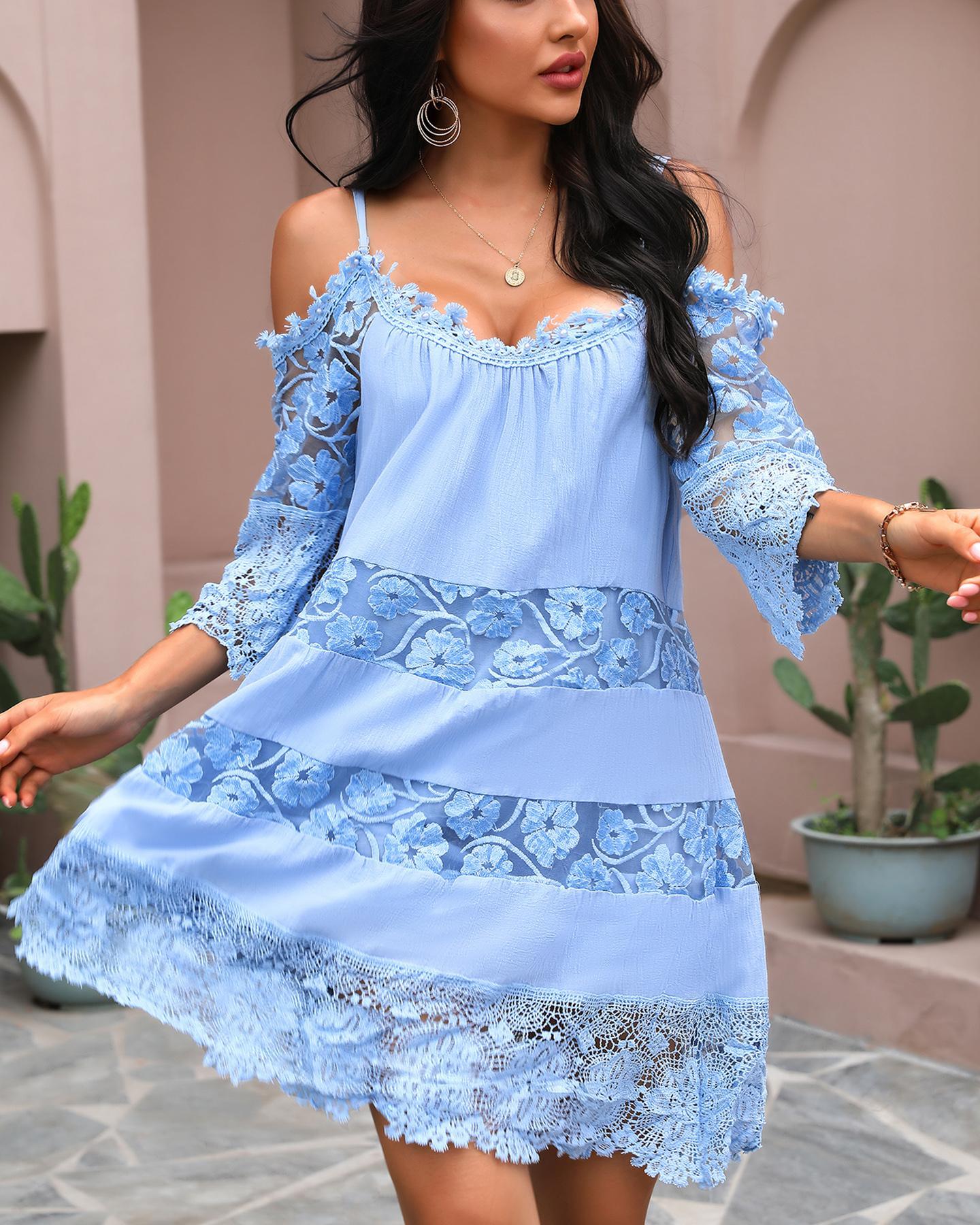 Lace Patchwork Cold Shoulder Dress