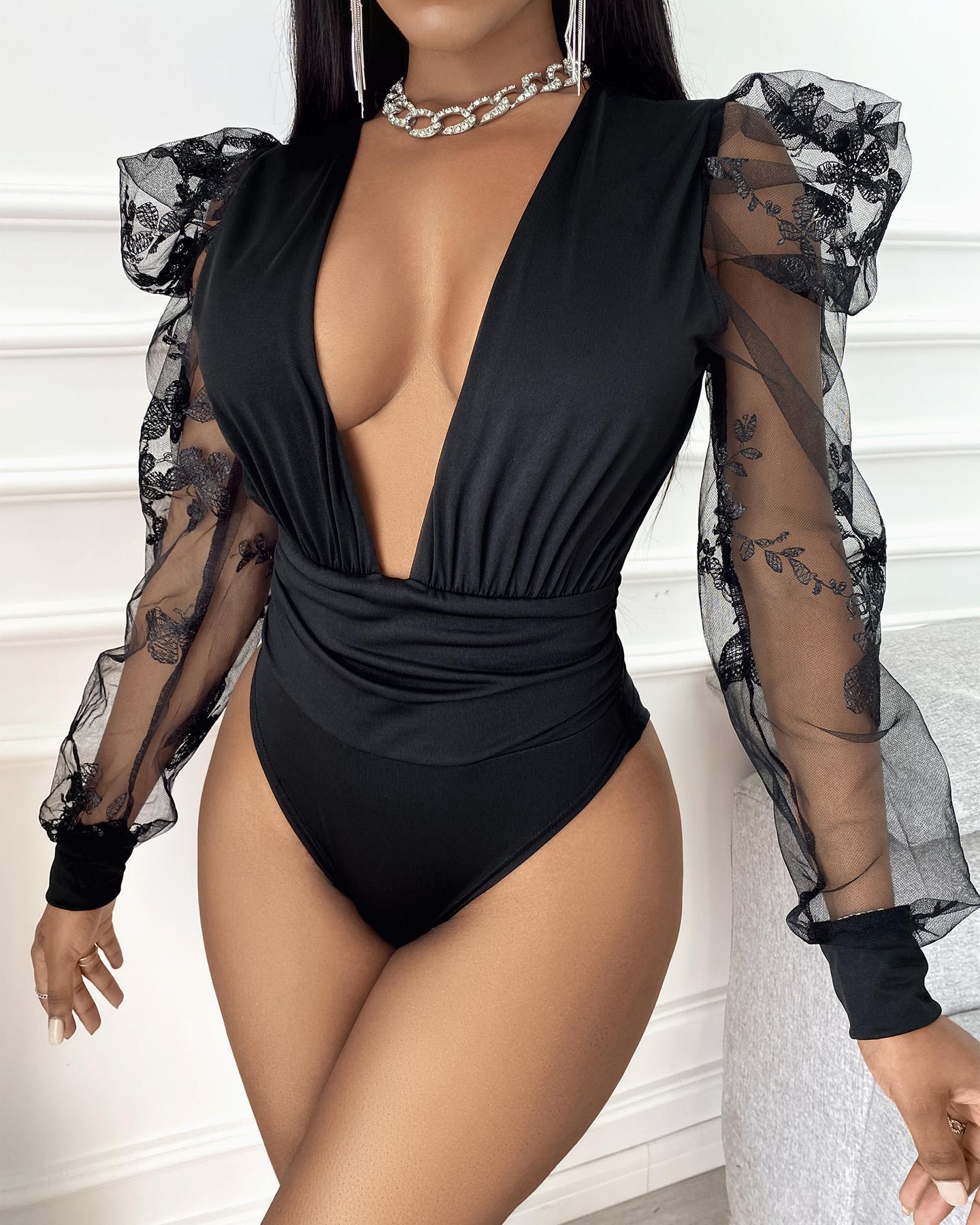 Puff Sleeve Sheer Mesh Bodysuit