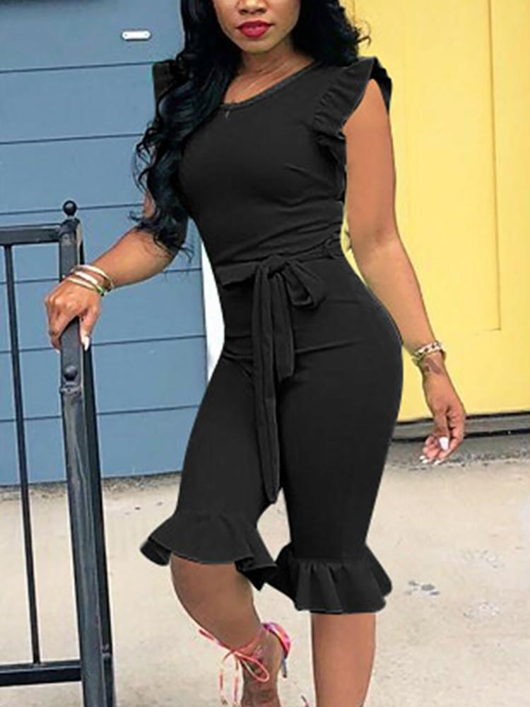 916b0d0a1da7 Solid Ruffles Detail Slinky Jumpsuit Online. Discover hottest trend fashion  at chicme.com