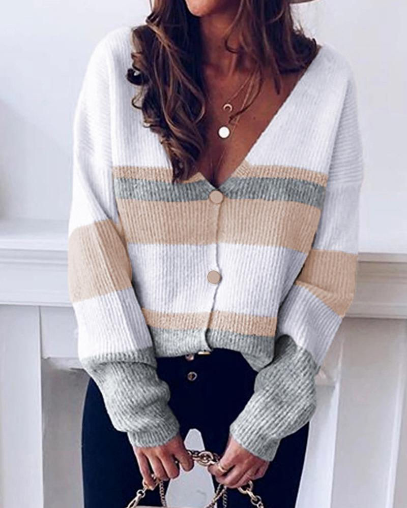 Striped V-neck Knit Sweater Cardigan thumbnail