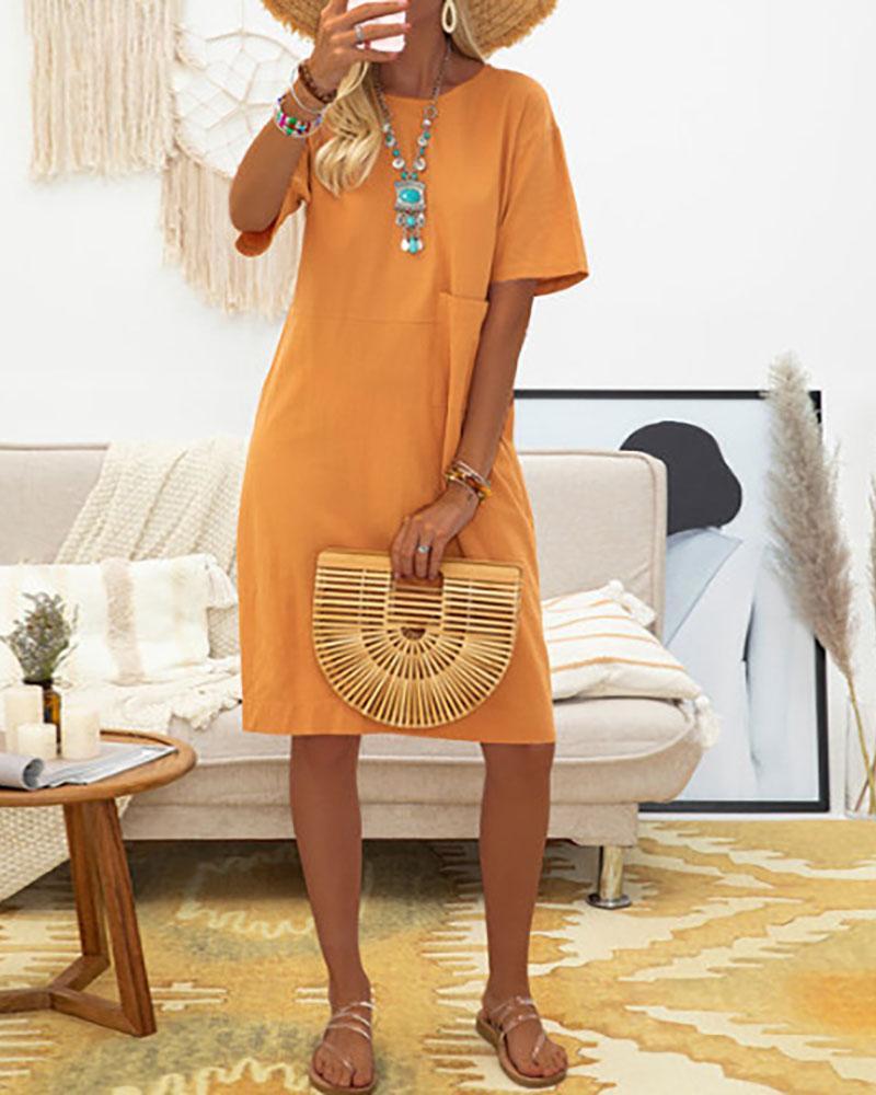 Pocket Design Solid Casual Dress thumbnail