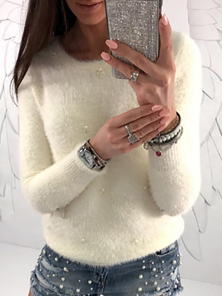 aa9c51255257 Fluffy Beads Embellished Casual Sweater Online. Discover hottest trend  fashion at chicme.com