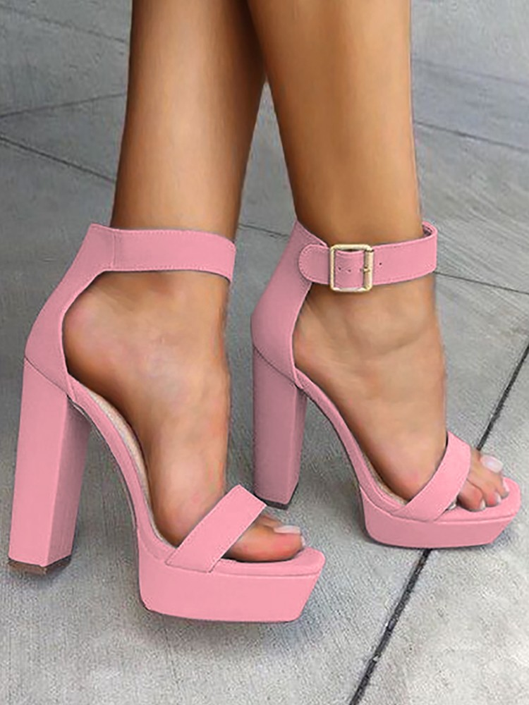 boutiquefeel / Sexy Open Toe Chunky Heeled Sandals