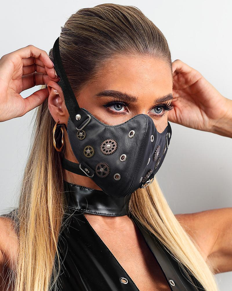 Breathable Gearwheel Punk Leather Motorcycle Biker Cyclin Face Mask thumbnail