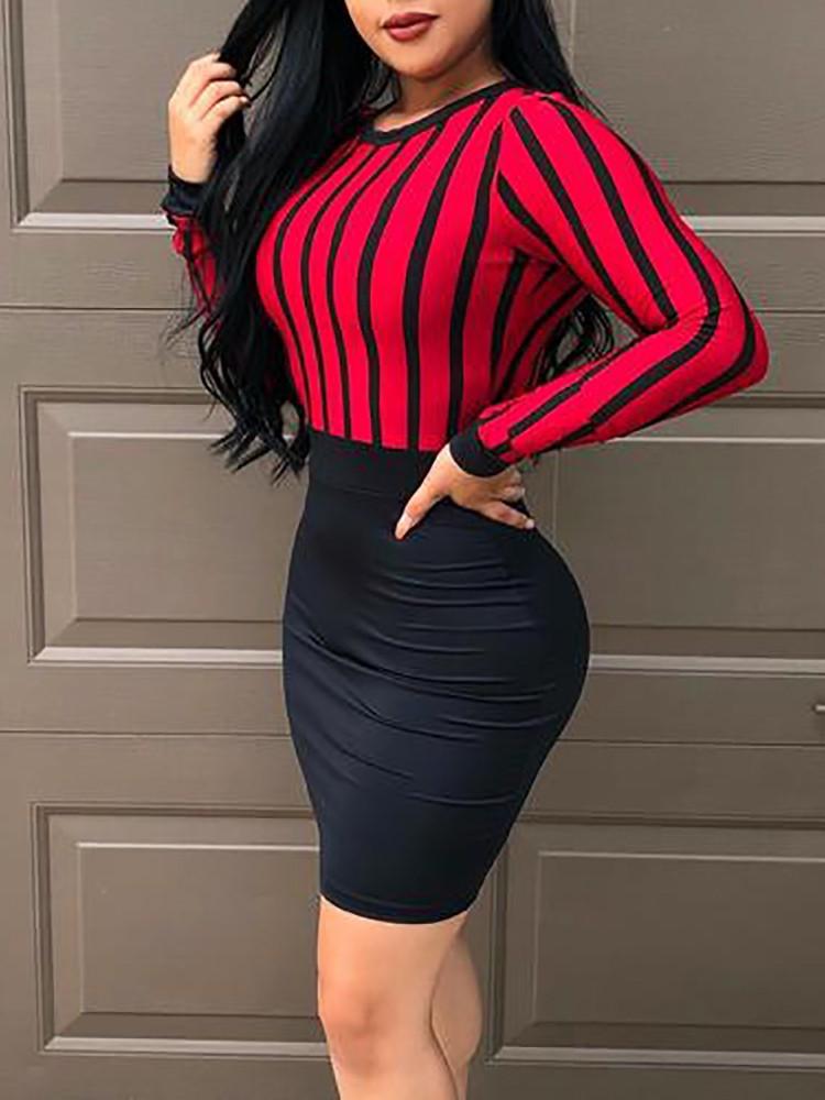 boutiquefeel / Striped Splicing Keyhole Back Bodycon Dress
