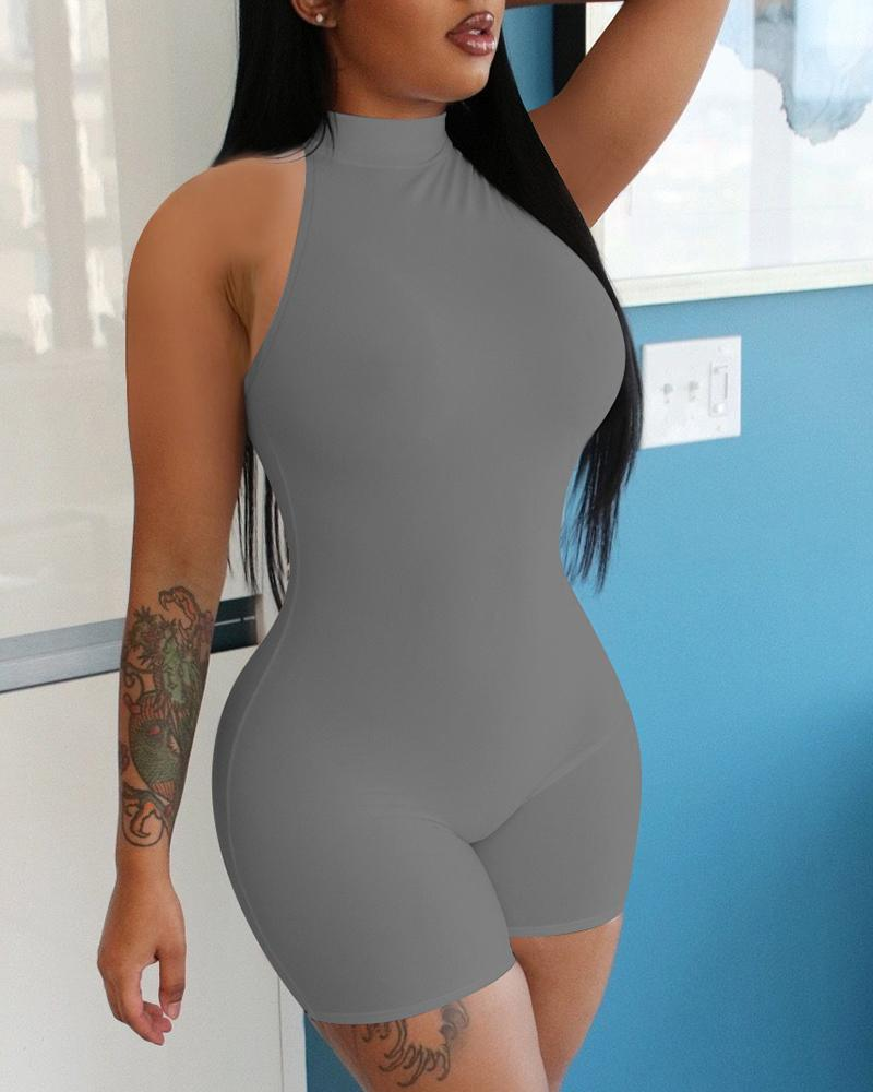 Sleeveless Round Neck Fitted Romper thumbnail