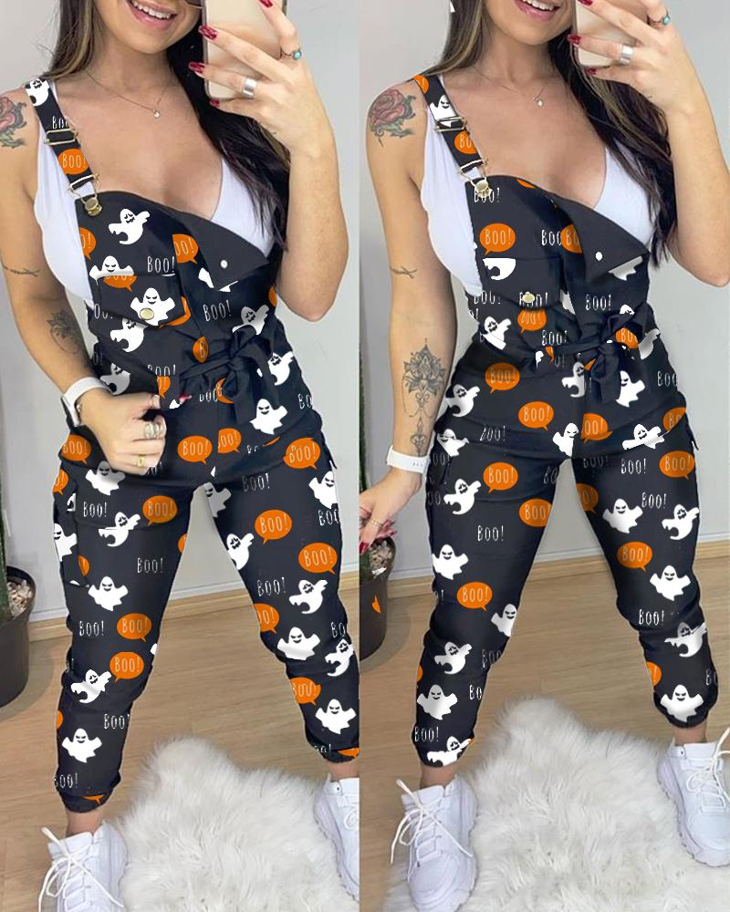 Halloween Letter Ghost Print Suspender Jumpsuit thumbnail
