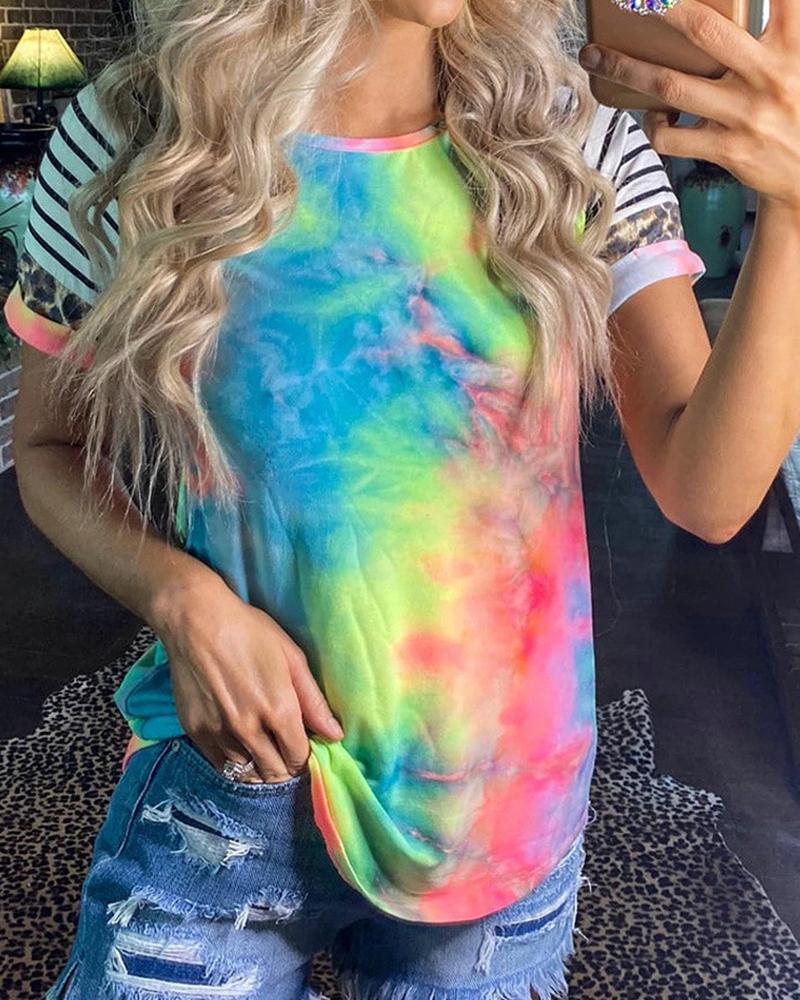 Tie Dye Short Sleeve Striped T-Shirt thumbnail