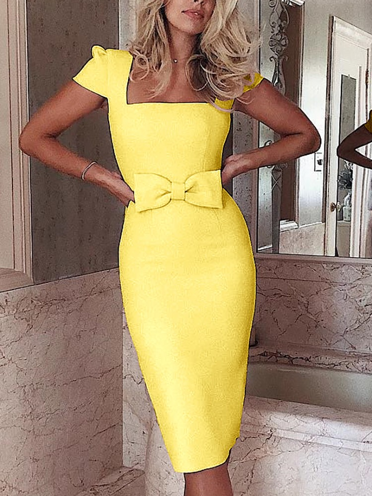 boutiquefeel / Square Neck Bowknot Midi Dress