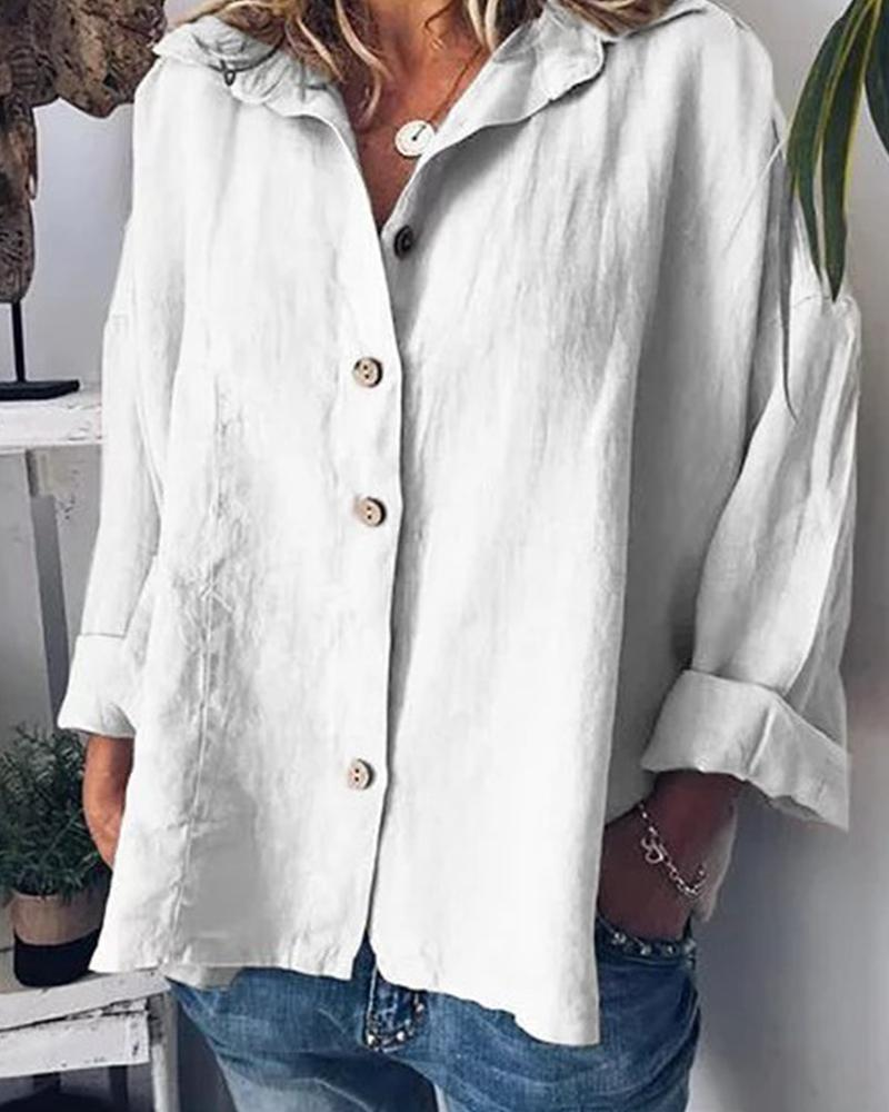 Solid Button Batwing Stand Collar T-shirt thumbnail