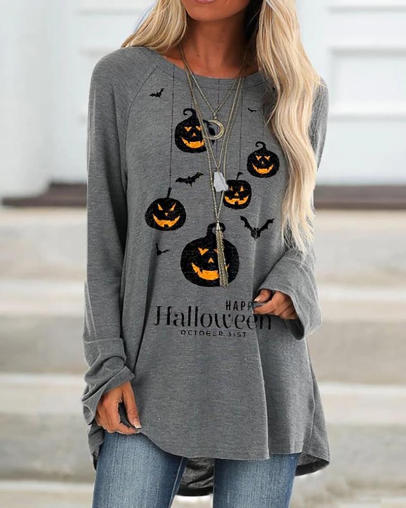 Halloween Letter Pumpkin Print Casual Top thumbnail