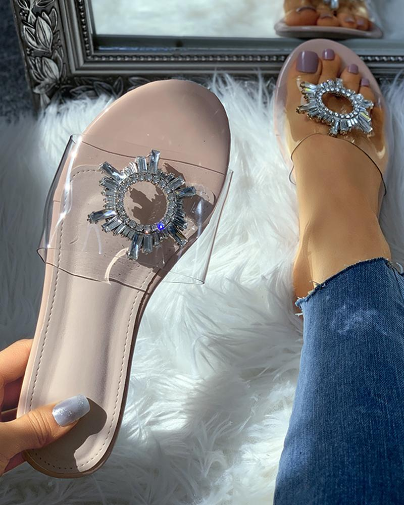 Diamante Flower Detail Clear Perspex Flat Slider Sandals thumbnail