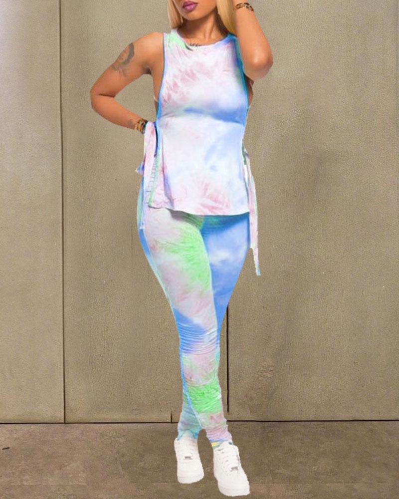 Tie Dye Print Side Slit Top & Pant Set thumbnail