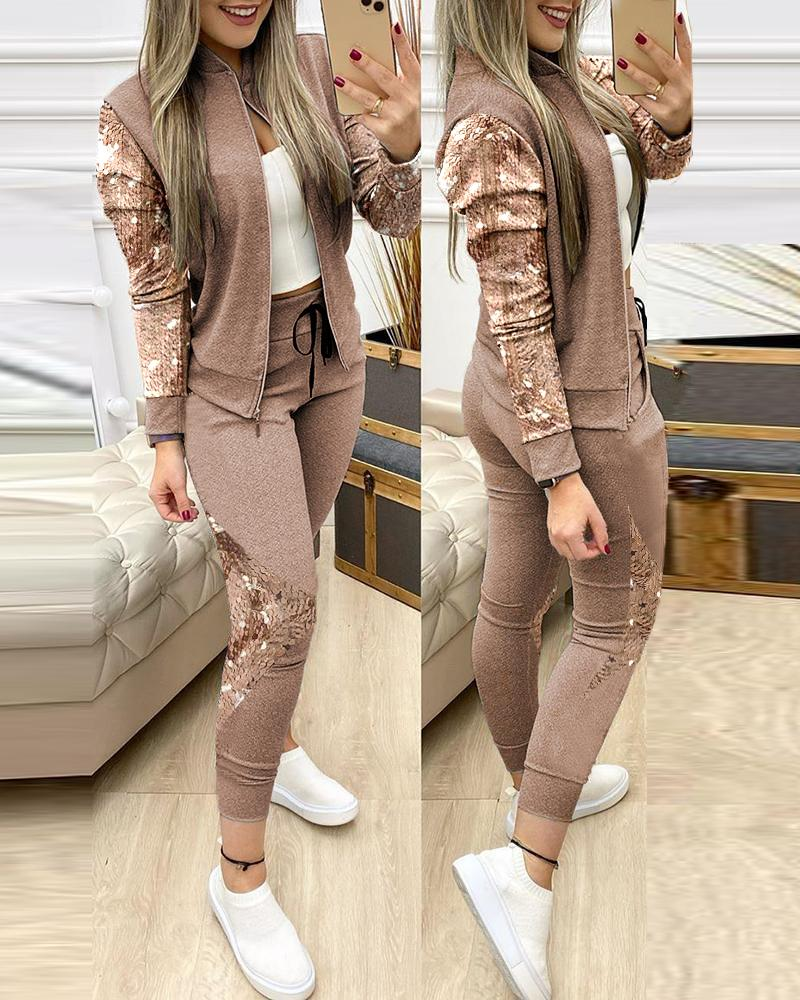 Contrast Sequins Zipper Design Jacket & Drawstring Pants Set thumbnail