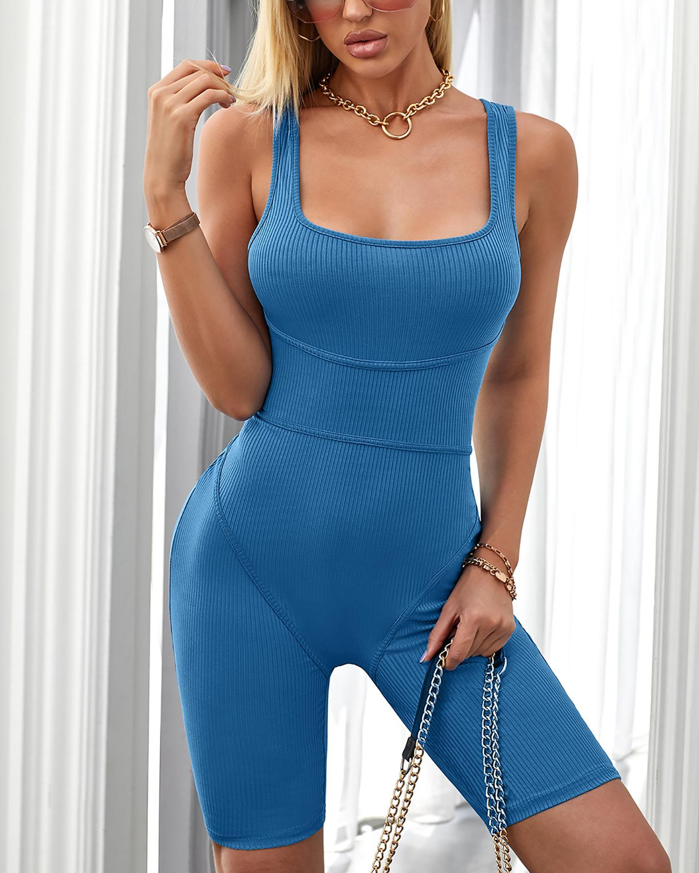 Thick Strap Sleeveless U-Neck Fitted Romper thumbnail