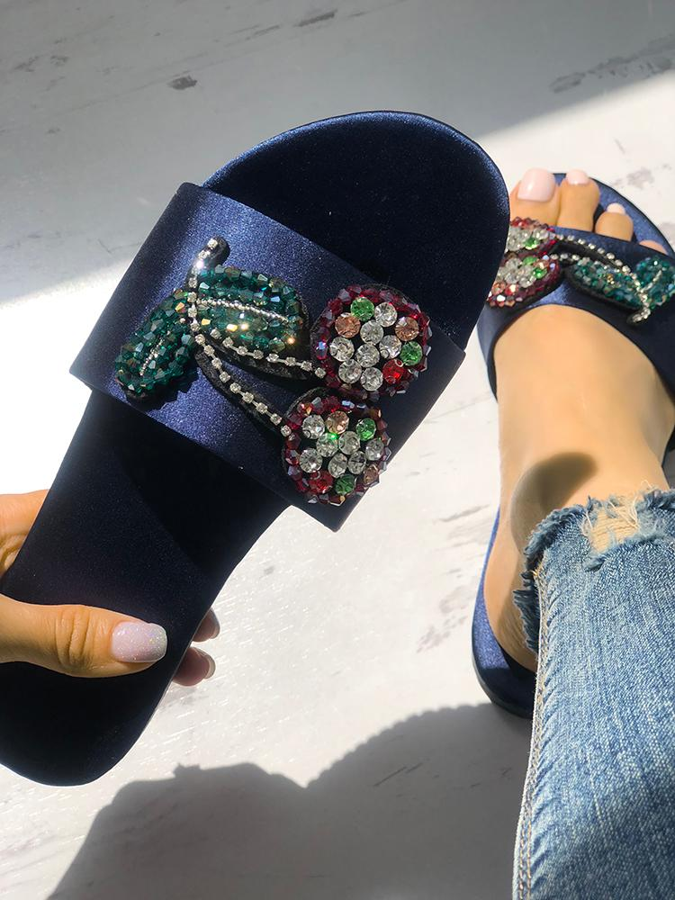 Colorful Rhinestone Single Strap Sandals