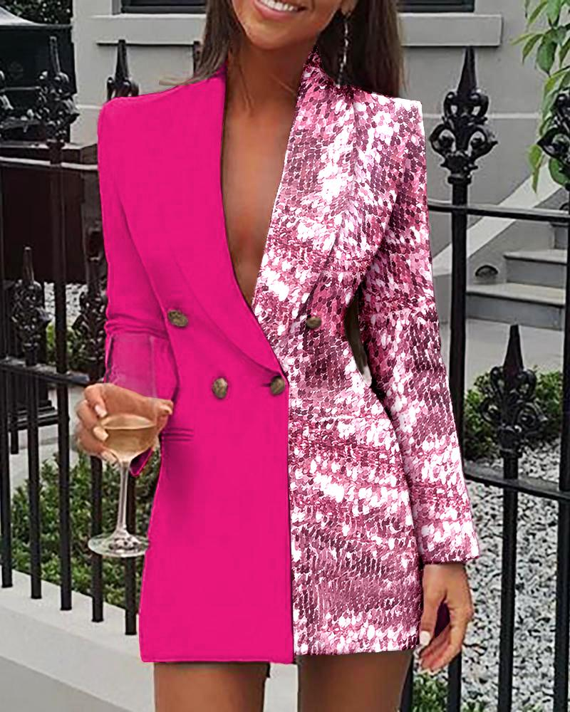 Sequins Colorblock Double Breasted Blazer Dress thumbnail