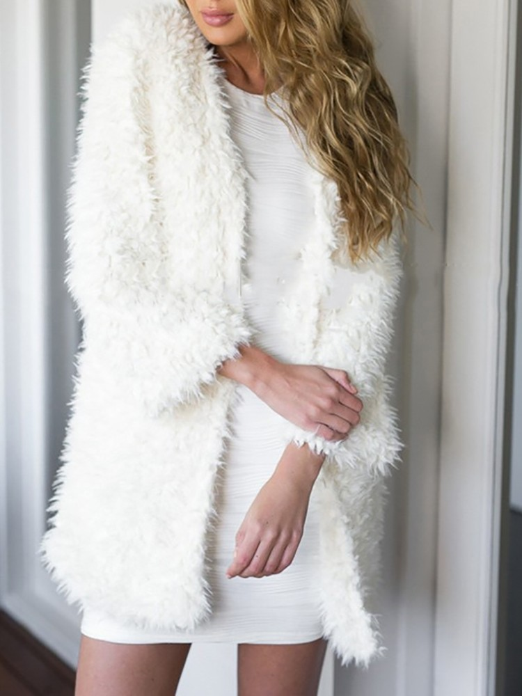 Trendy Women White Lambswool Cardigan Coat