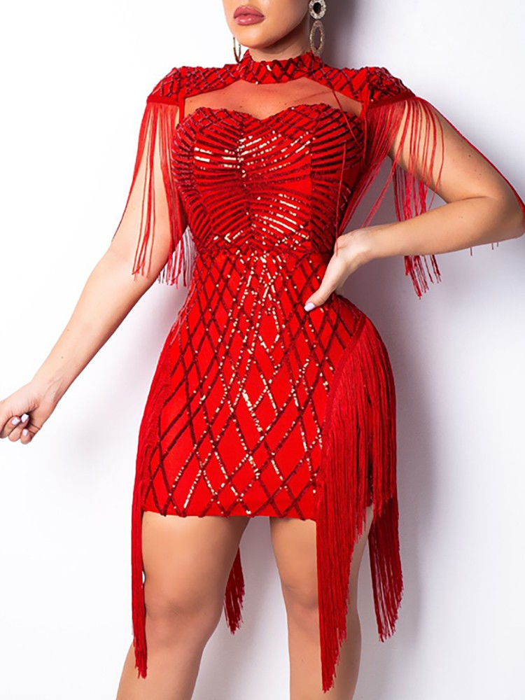 Tassel Detail Cut Out Sequin Party Dress Online Discover