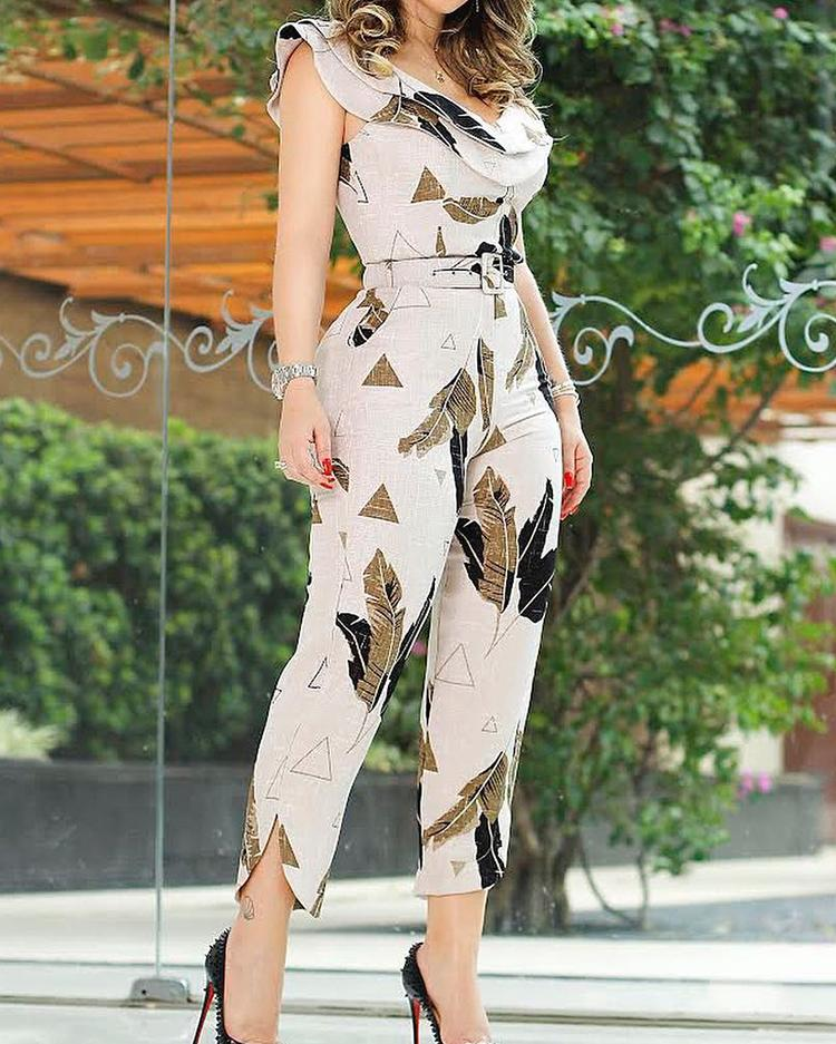 Leaf Print Layered Ruffle Split Leg Jumpsuit