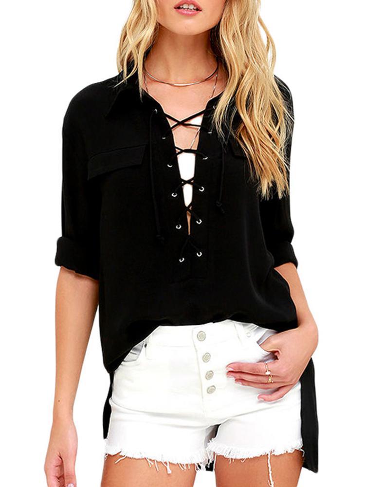 Summer Fashion Women's Leisure Long Sleeve Polo Crop Top Low Cut Side Split Shirt Blouse