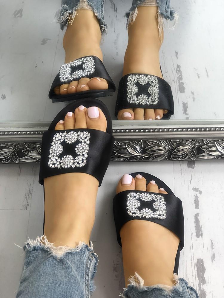 boutiquefeel / Shiny Embellished Peep Toe Flat Sandals