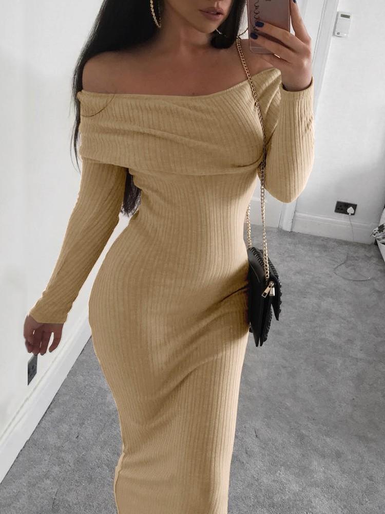 Rib Knit Off Shoulder Bodycon Maxi Dress Ivrose
