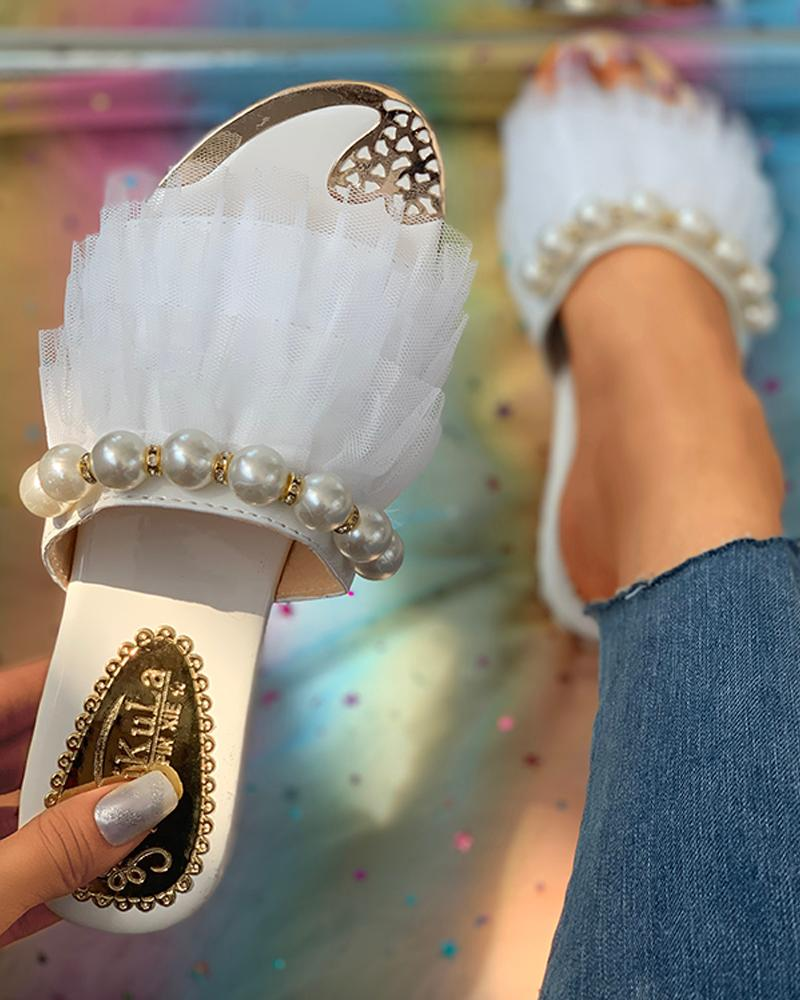 Open Toe Beaded Layered Mesh Insert Flat Sandals thumbnail