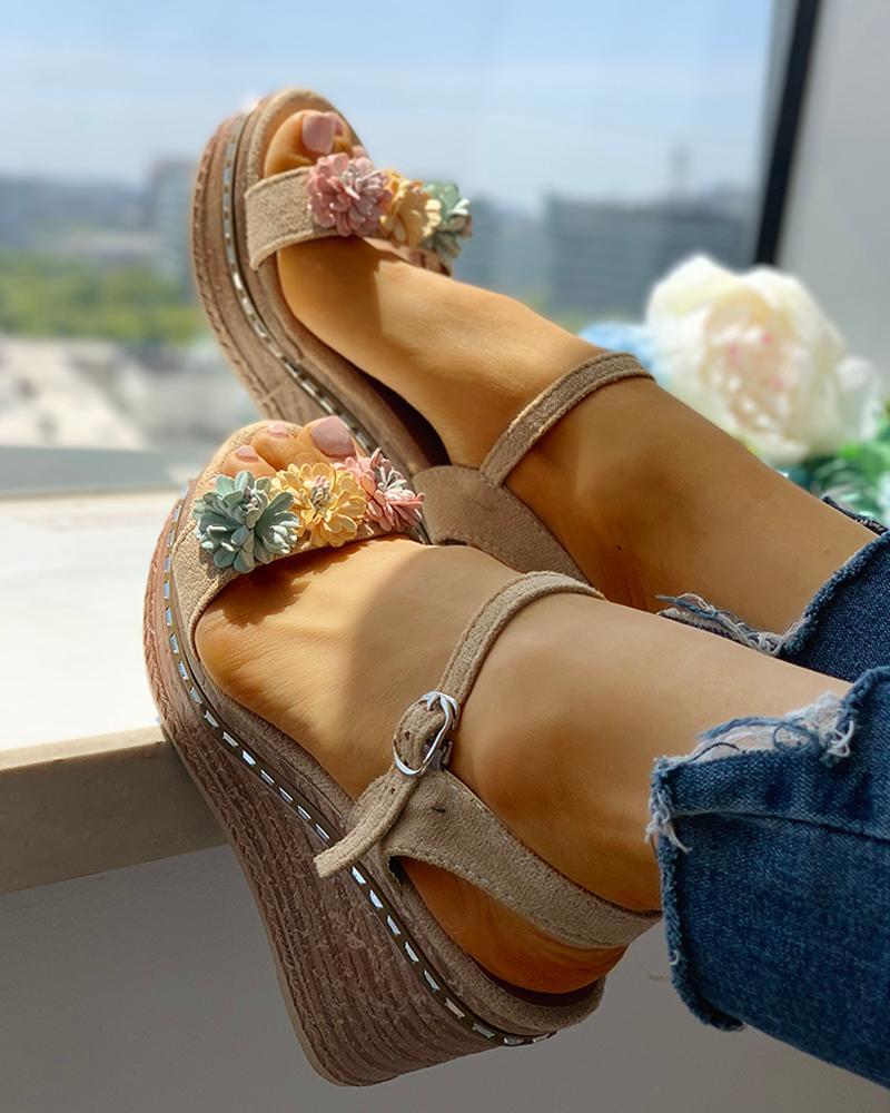 Sandals Suede Flower Embellished Wedge Platform v8nmNw0