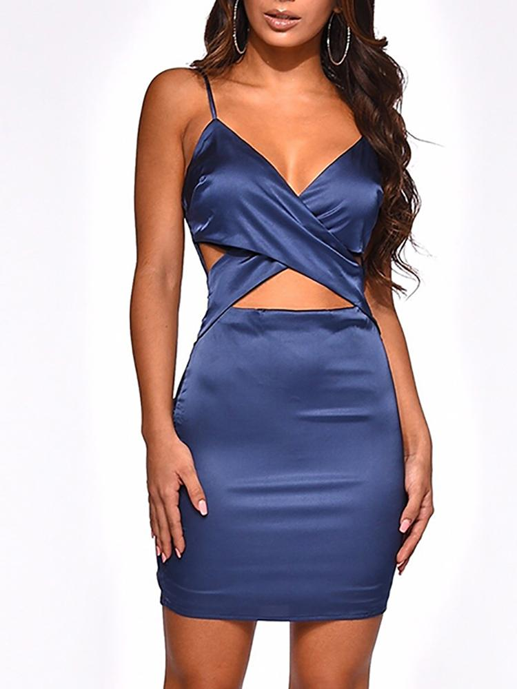 boutiquefeel / Spaghetti Strap Crisscross Cutout Bodycon Dress