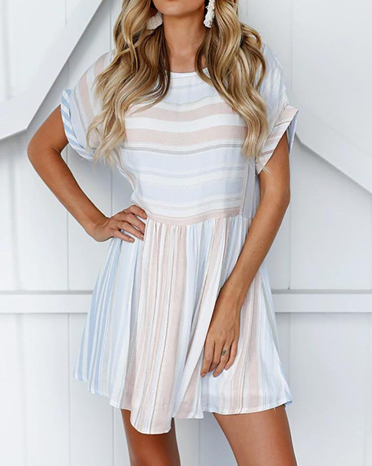 Ivrose coupon: Roll-up Sleeve Striped Pleated Casual Dress
