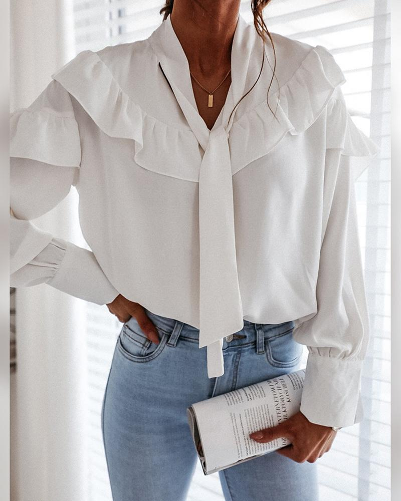 Solid Long Sleeve Ruffles Blouse thumbnail
