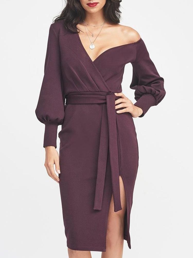 Lantern Sleeve One Shoulder Slit Belted Dress