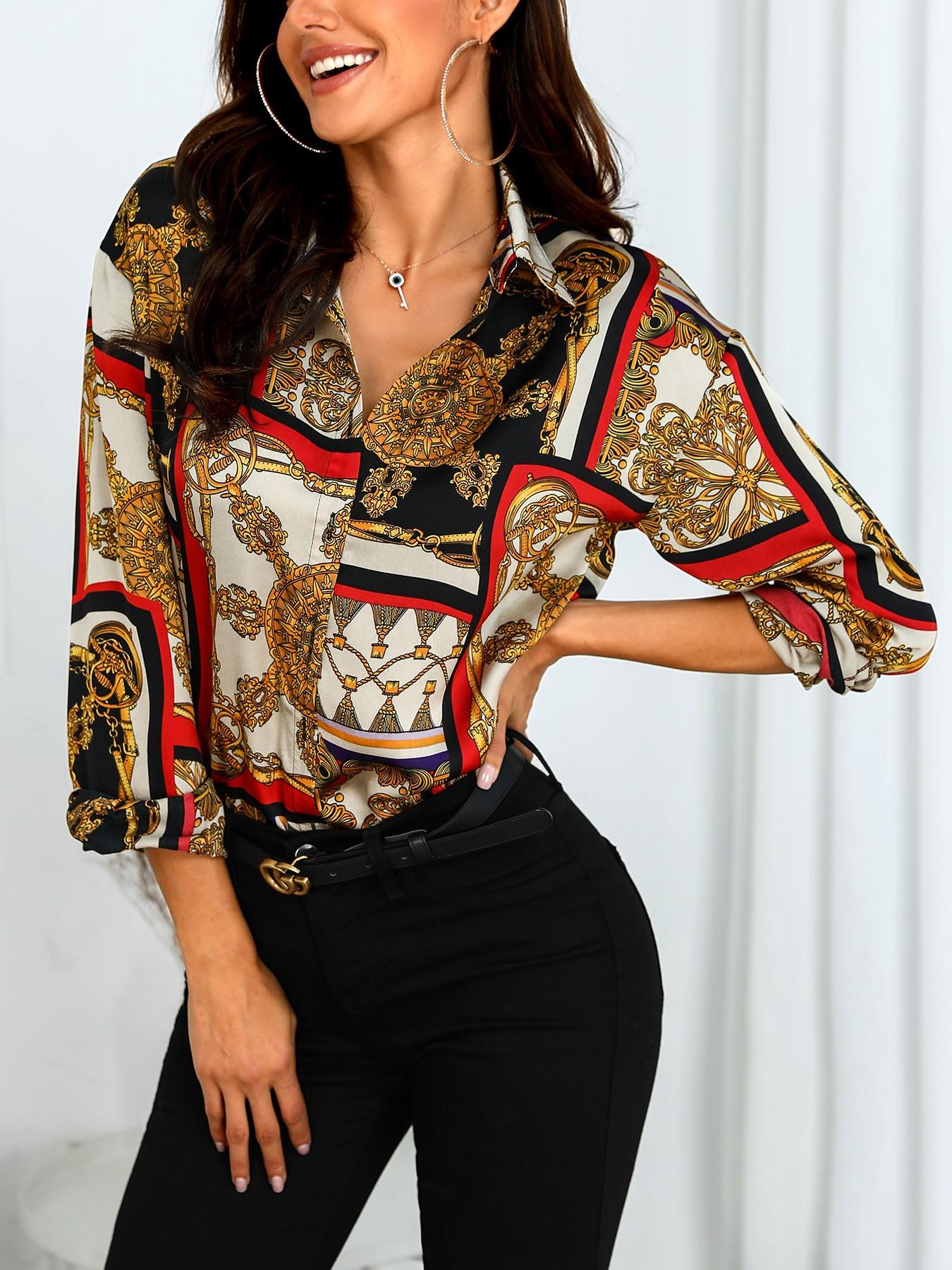 Scarf Print Long Sleeve Casual Shirt