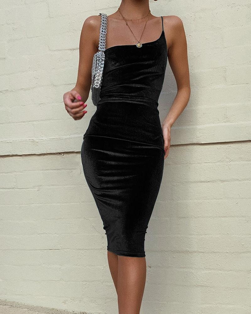 One Shoulder Tight Waist Bodycon Dress