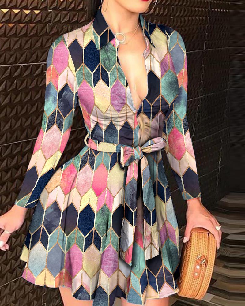 ivrose / Colorblock Button Design Long Sleeve Women Shirt Dress