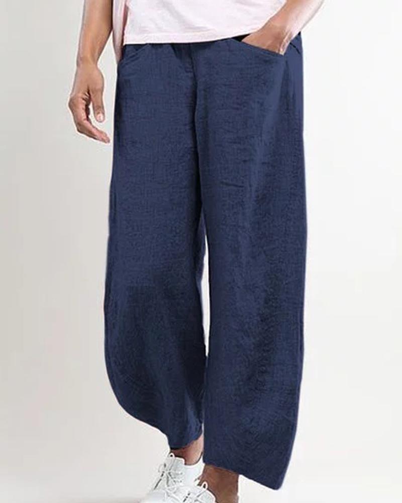 Solid Pocket Loose Long Pants thumbnail
