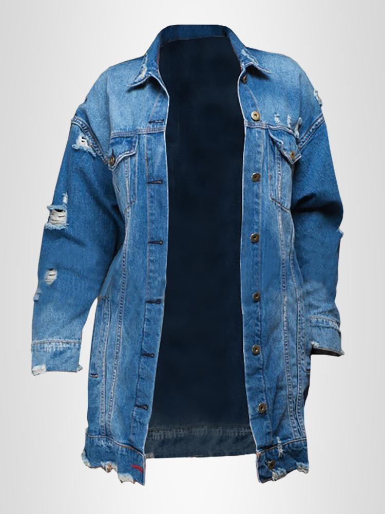 Trendy Button Ripped Long Denim Coat