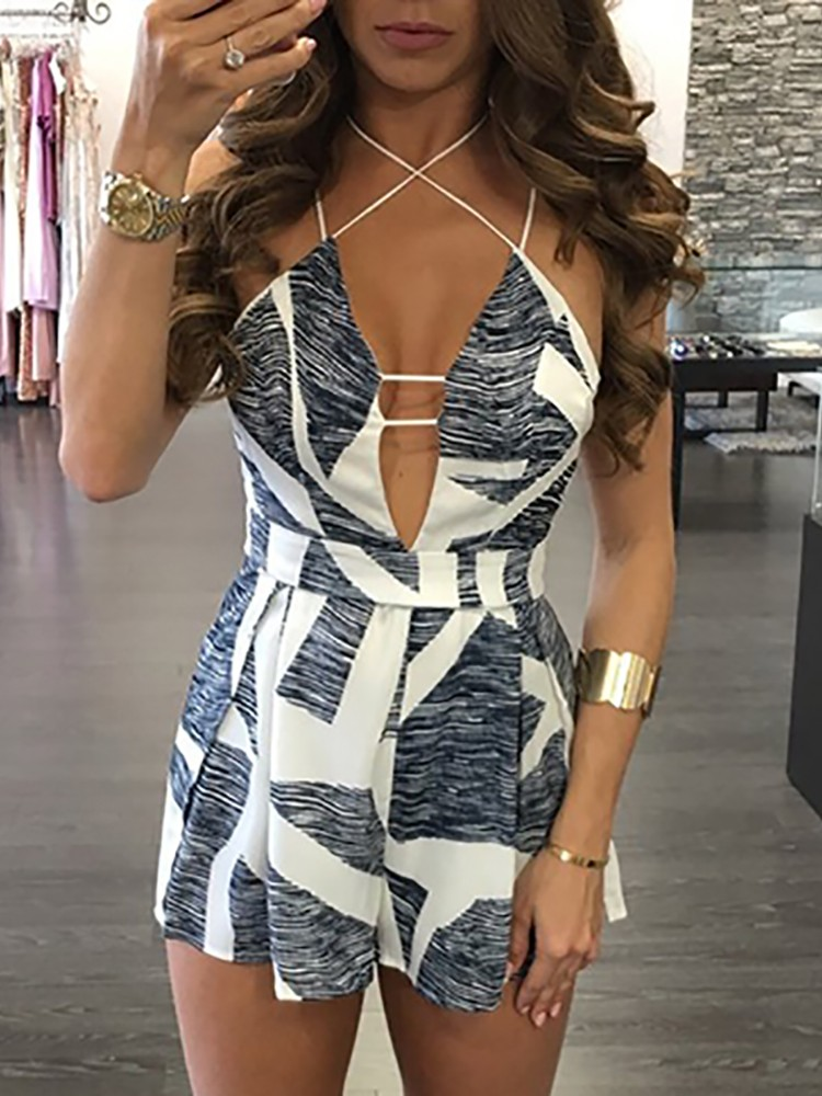 Low Cut Stylish Print Strappy Ruched Romper