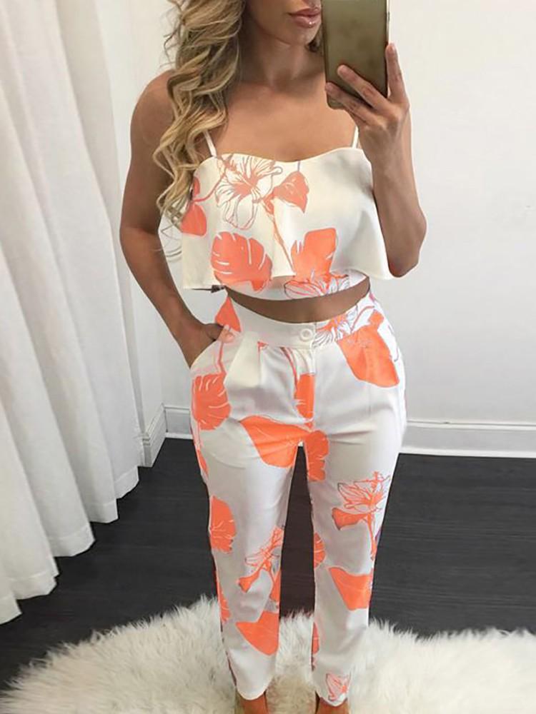 boutiquefeel / Fashion Women Flounced Print Cropped Twinset