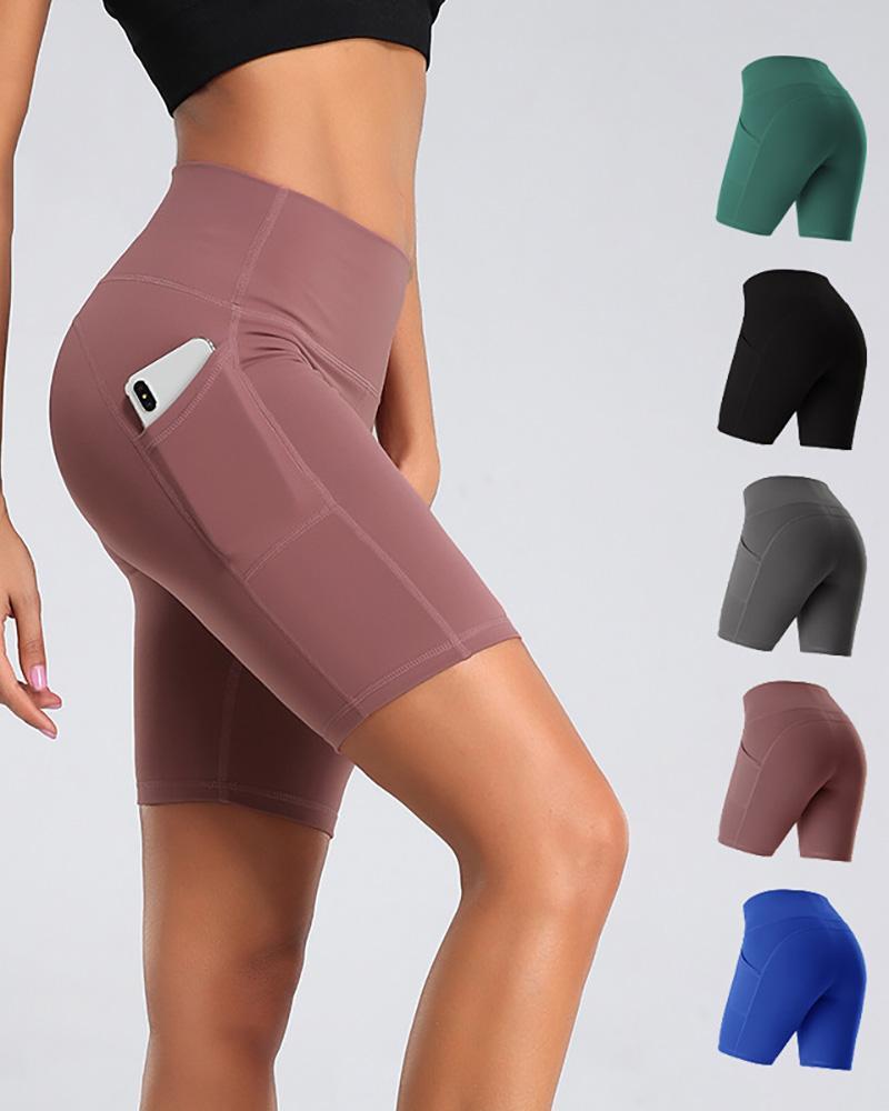 Pocket Design High-Rise Fitted Yoga Shorts thumbnail