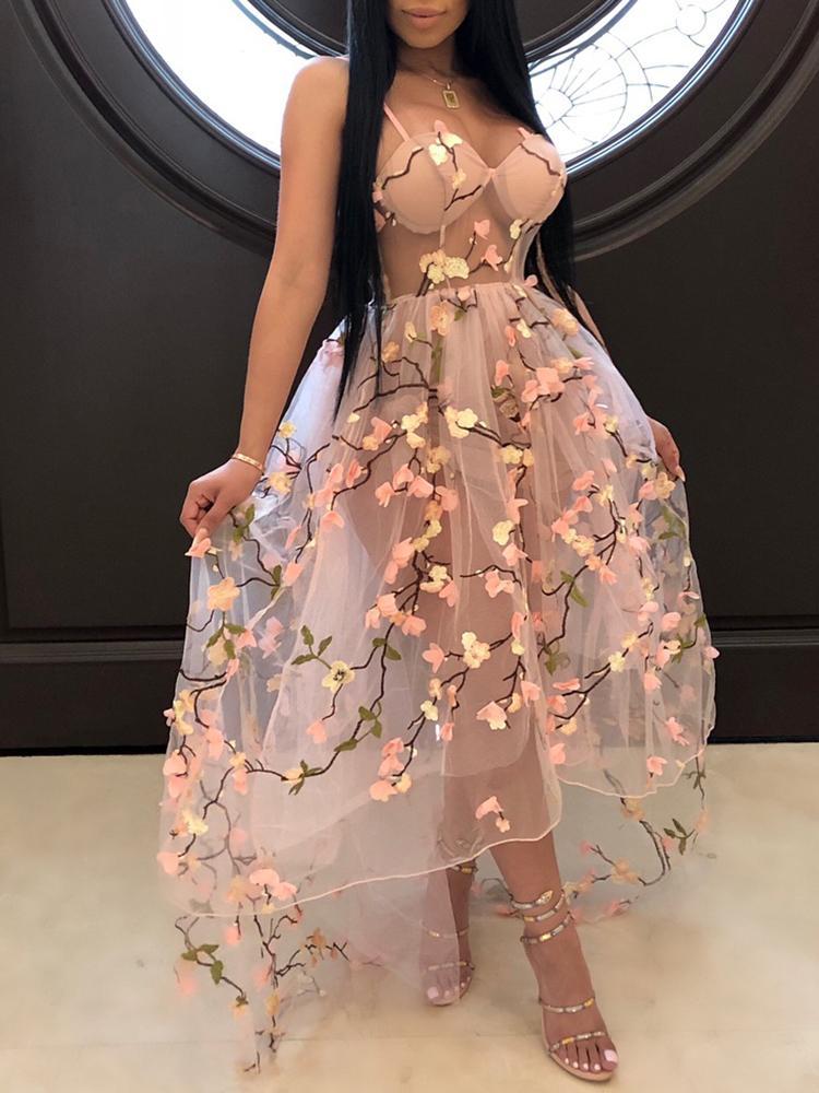 Flower Applique Embroidery Sheer Mesh Maxi Dress