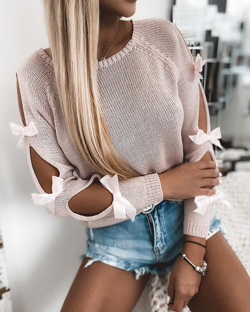Cut-out Lace-up Long Sleeve Sweater thumbnail