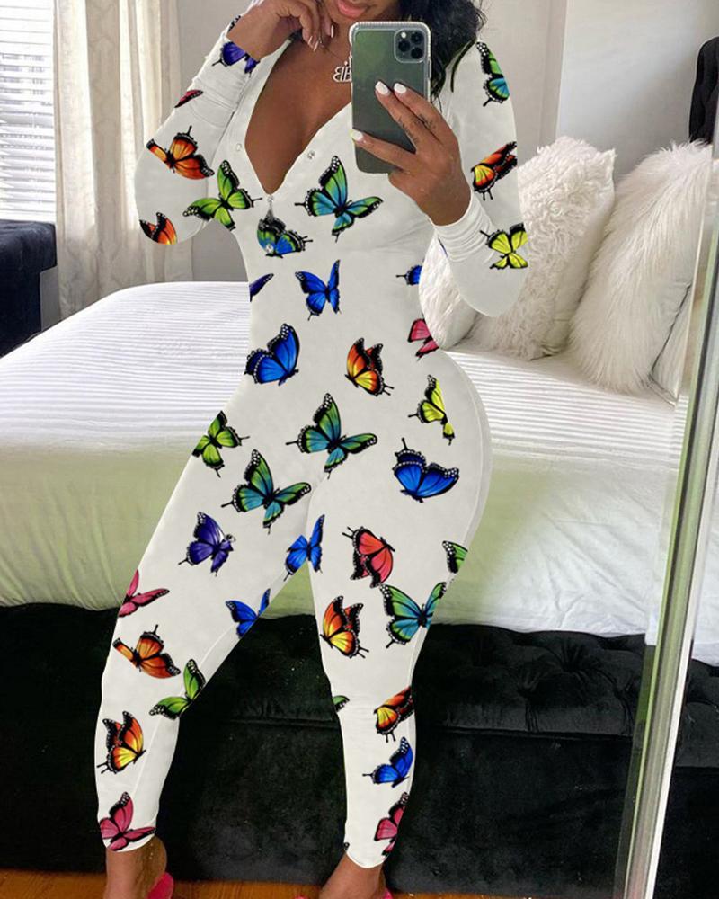Butterfly / Cartoon / Heart / Letter Print Buttoned Jumpsuit thumbnail