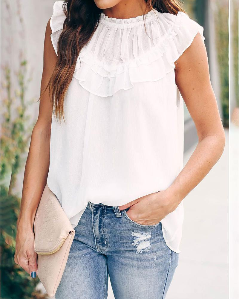 Solid Round Neck Ruffles Top thumbnail
