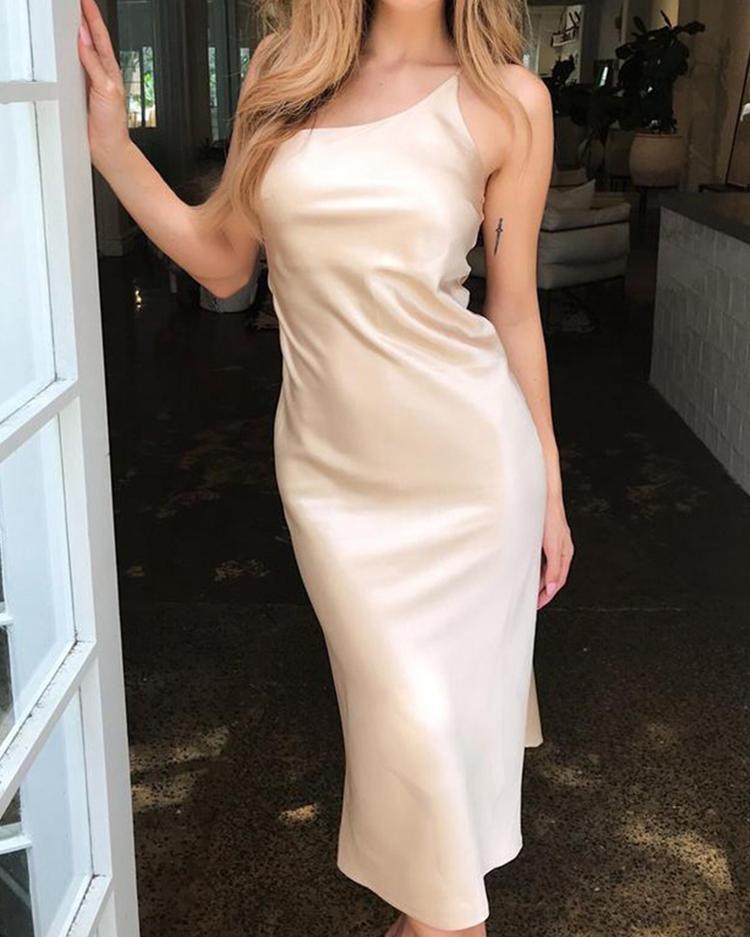 One Shoulder Spaghetti Strap Dress